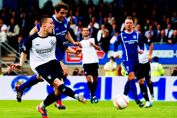 August 2012: Barrie McKay scores Rangers first league goal in the lower leagues.