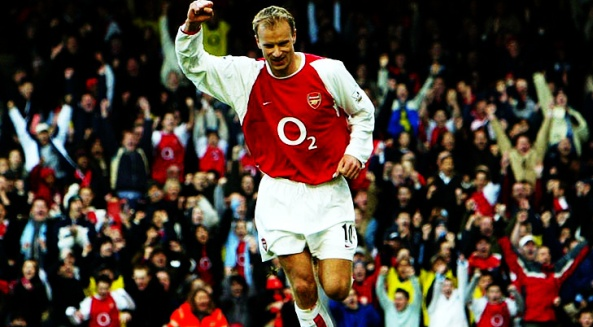 Football - FA Cup - Fourth Round - Arsenal v Middlesbrough - 24/1/04 Dennis Bergkamp - Arsenal celebrates his goal against Middlesbrough Mandatory Credit : Action Images / Alex Morton