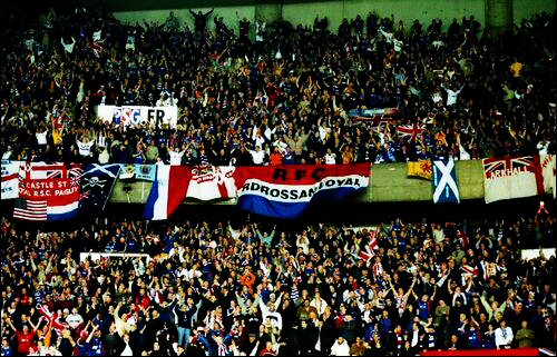Jubilant: An amazing 10'000 Rangers fans descended on Paris for the match.