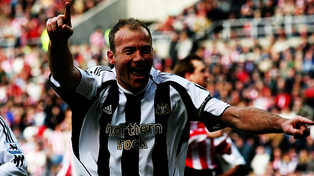 Newcastle United's Alan Shearer celebrates after scoring from the penalty spot