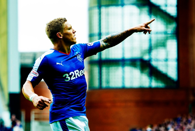 12/09/15 LADBROKES CHAMPIONSHIP RANGERS V LIVINGSTON IBROX - GLASGOW Mark Waghorn celebrates after scoring Rangers' second goal of the game